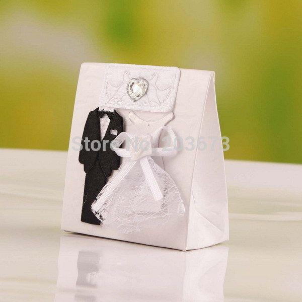 Свадебное Платье Невесты и Жениха Смокинг Душ Репетиции Ужин Пользу Конфеты в Коробках 12 шт.