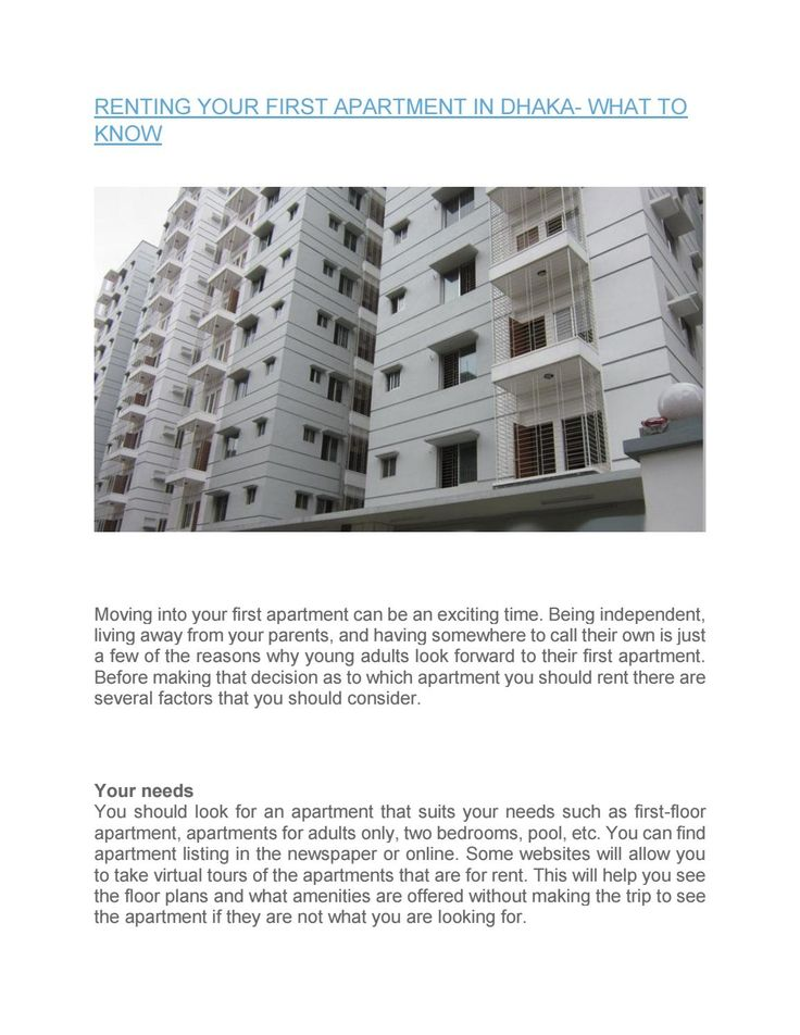 Renting your first apartment in dhaka