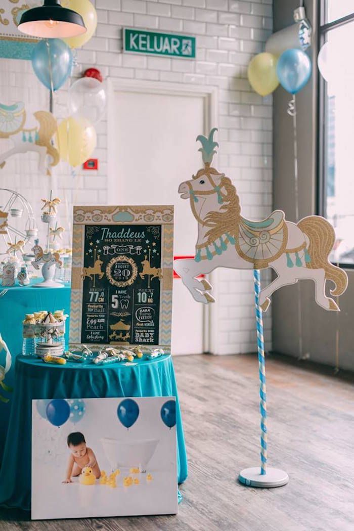 Carousel horse from a Merry Go Round + Carousel Birthday Party on Kara's Party Ideas | KarasPartyIdeas.com (16)  #karaspartyideas #1stbirthday #1stbirthdayparty #carouselparty #merrygoroundparty #kidspartyideas