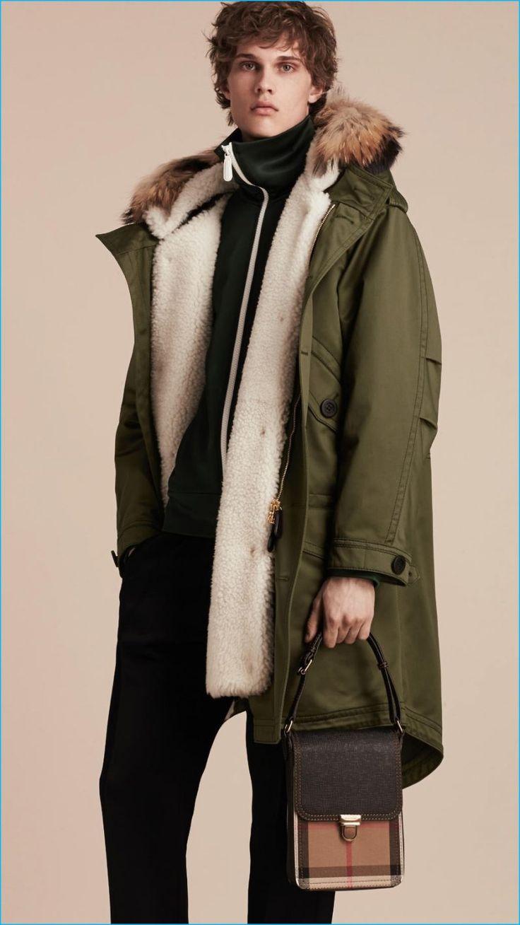 Mens fur lined green parka