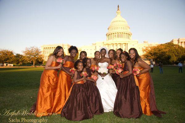 Elizabeth St John Couture- Burnt orange and chocolate bridesmaids dresses