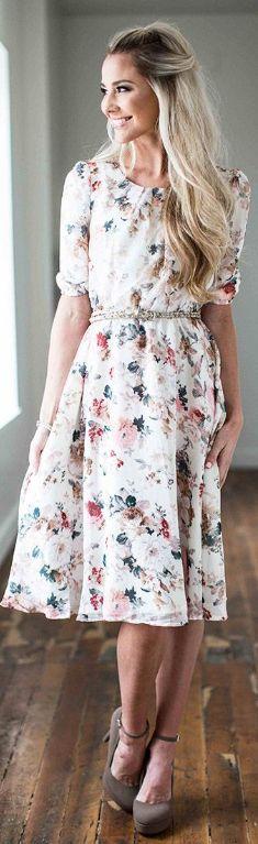 Easton Cream Floral Dress