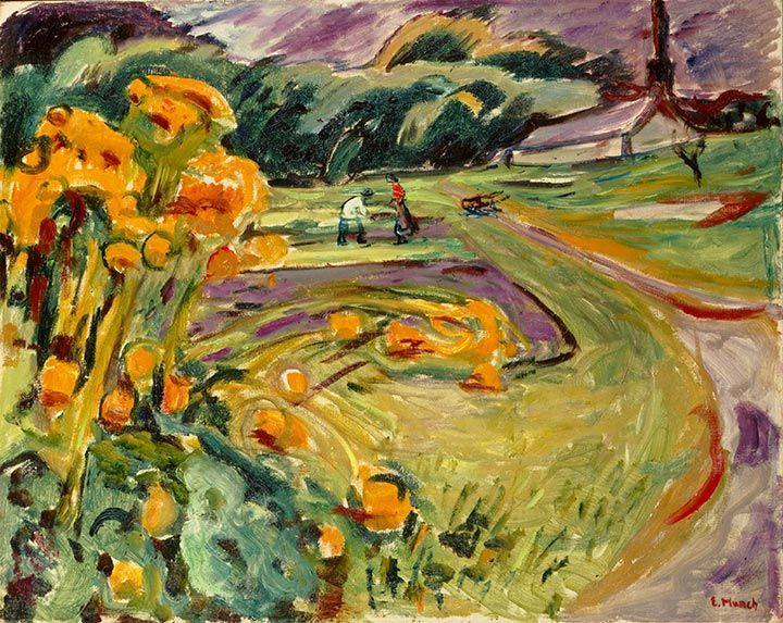 Munch:  Harvest in the autumn by the greenhouse 1923–25 / Olje på lerret / 73 x 91,5 cm Private collection