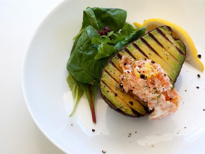 Grilled Avocado And Smoked Salmon Cream
