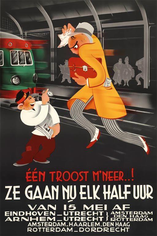 Affiche halfuursdienst, 1939 | Joop Geesink (Spoorwegmuseum Utrecht)