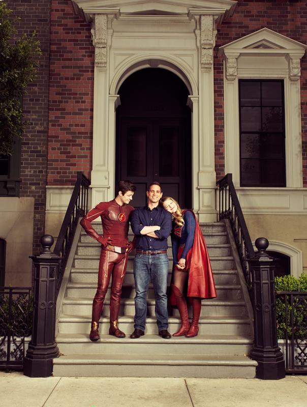 Actor Grant Gustin as The Flash/Berry Allen, producer Greg Berlanti and actress Melissa Benoist as SuperGirl/Kara Zor-El #SupergirlXTheFlash