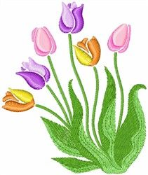Tulips design for machine embroidery