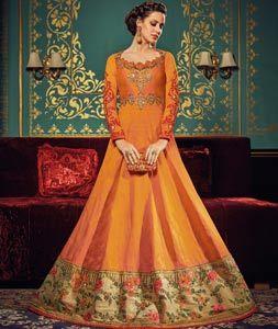 Orange Silk Floor Length Anarkali Suit 90480
