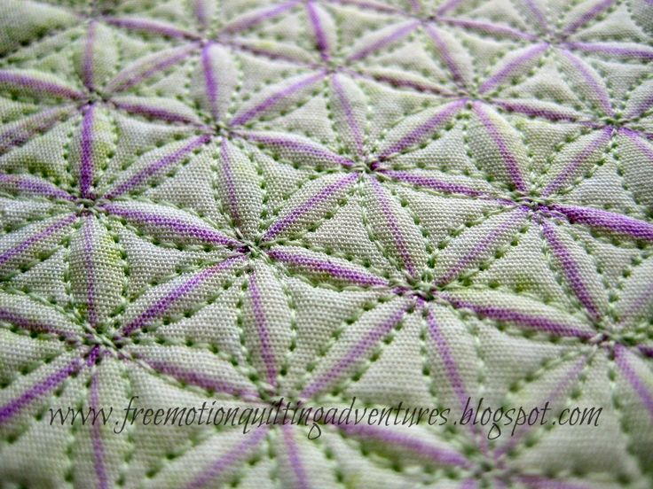 Continuous curves on a 60-degree triangle grid. makes a hexagonal flower pattern. See picture on website. Amy's Free Motion Quilting Adventures: Free Motion Monday Quilting Adventures: Grid-Based Designs 3