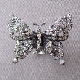 Pince Crabe Double Papillon irisé - Grandes pinces crabe - Bijoux et accessoires cheveux - Eclats de Cristal