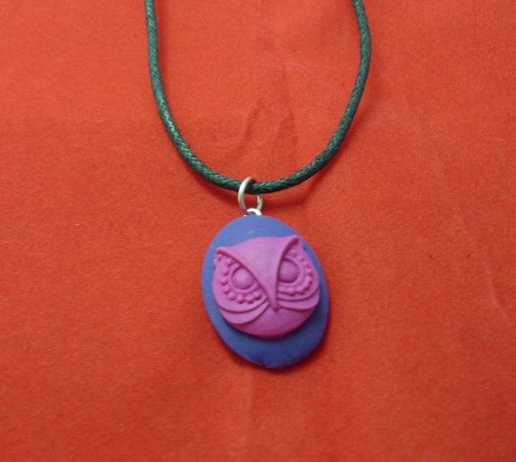 Little pink owl on purple young person necklace pendant