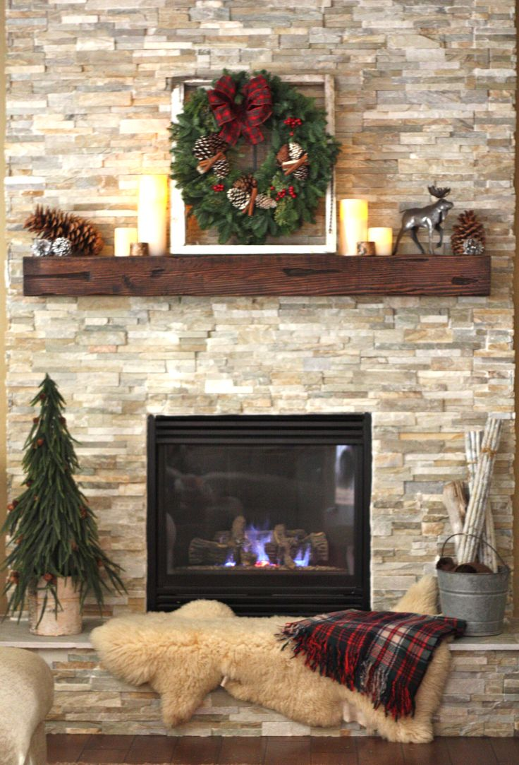 I Could Do This Similar Fireplace And Mantel Christmas Is Coming Pinterest Trees