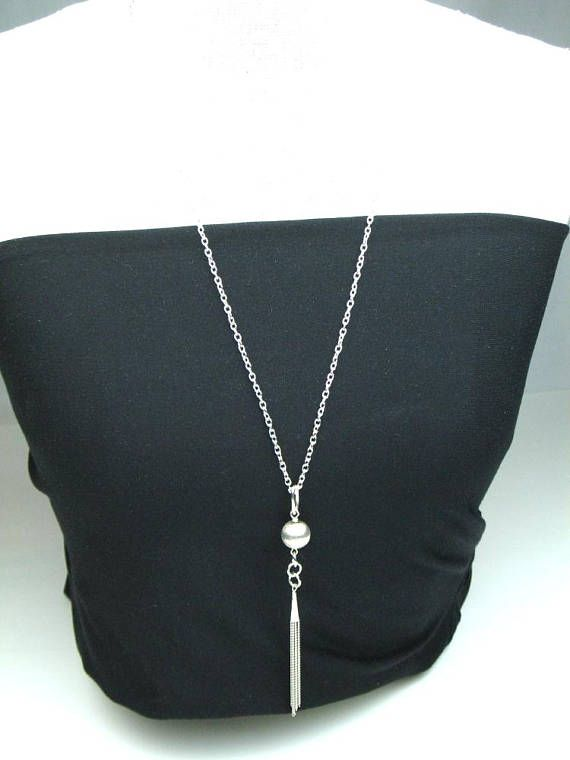 Flapper Chain Necklace in Silver with Brushed Sterling Silver