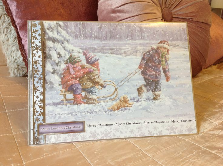 Card Making Ideas Using Acetate Part - 35: A4 Christmas Card With Hunkydory And Snowfall Acetate, Made By Lil.