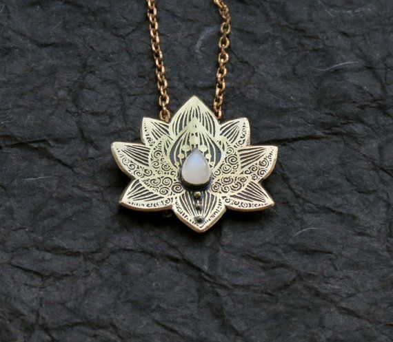 Lotus Pendant Water Lily Necklace Brass Flower by spaceweaver