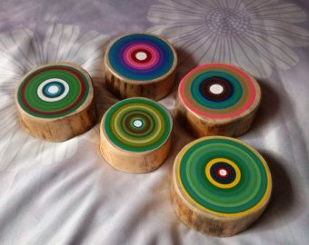 5 abstracte schilderijen, kleurrijke boom ringen schilderijen, originele kunst aan de muur, geschilderde boom ringen, houten wand decor, veelkleurige kunst, Reclaimed Hout