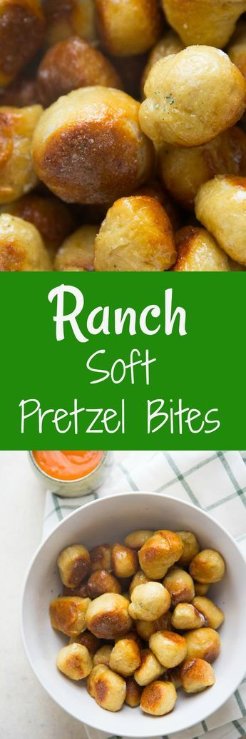 Soft pretzels can be made at home and they are so easy it's embarrassing!  Coat them in butter and ranch seasoning and serve them with Buffalo sauce! Be warned, they are totally addicting! via @Lemonsforlulu