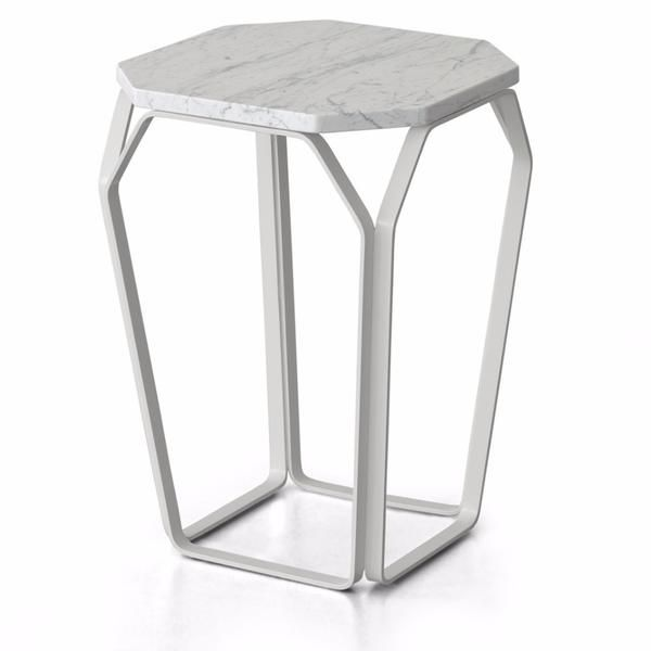 The stunning marble topped Marmo 1 side table was designed by Enrico Cesana and Riccardo Rivolta, and made in Italy by MEMEDesign. In Carrara or Nero Marquina marble