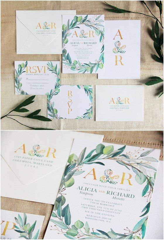 leafy wreath monogram wedding invitation / http://www.deerpearlflowers.com/29-watercolor-wedding-invitations/