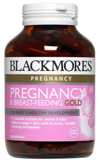 Blackmores Pregnancy & Breastfeeding Formula Gold khusus untuk ibu hamil dan menyusui. Kandungan : Omega3-Fish Oil, 10 vitamin and 6 mineral. Per botol 120 kapsul (2x sehari). Harga Rp 450.000,- di luar ongkir TIKI/JNE. Ready Stock!