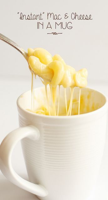 Instant  Mac & Cheese in a Mug - 1 cup water, 1/2 cup noodles, 1/2 cup cheese, and cook 8 minutes!
