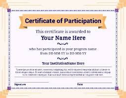Image result for certificate of participation word template editable