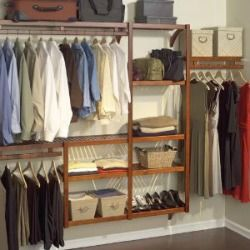 Closet shelving systems plus baskets for small items are a great way to organize both men's and women's closets.
