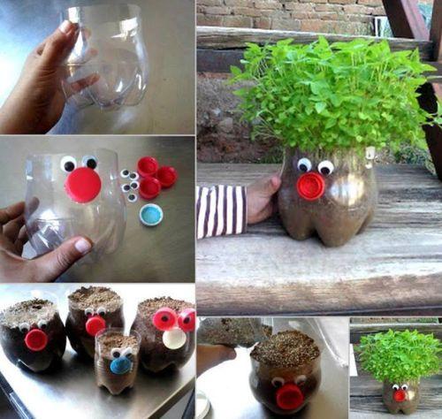 Como Fazer Vasos de Jardim com Garrafa Pet