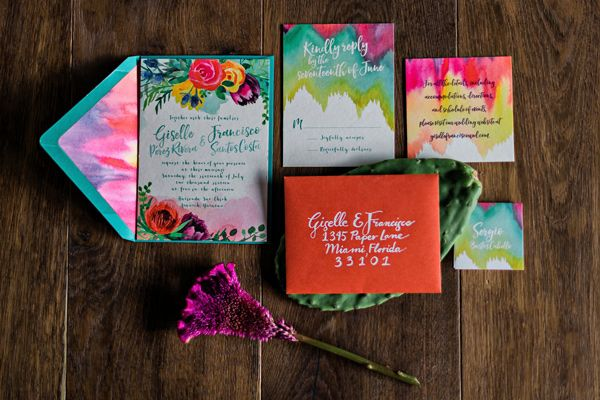 colorful wedding stationery - photo by Kristen Weaver Photography http://ruffledblog.com/yucatan-inspired-wedding-ideas