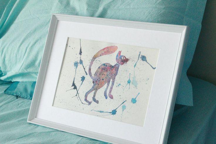 Space cat. Illustrazione acquerello. Decor design stampa giclèe su carta fine art. Appeso parete regalo arte, : Disegni di mylittlehappytown