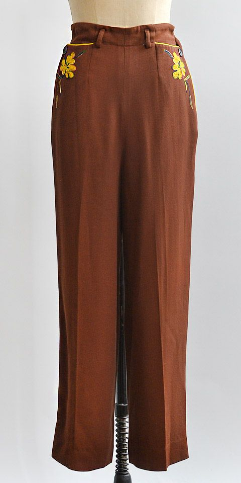 vintage 1940s brown floral embroidered trousers