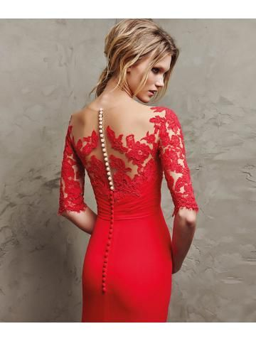 Lange rode gaas 3/4 mouwen uitlopende Empire jurk