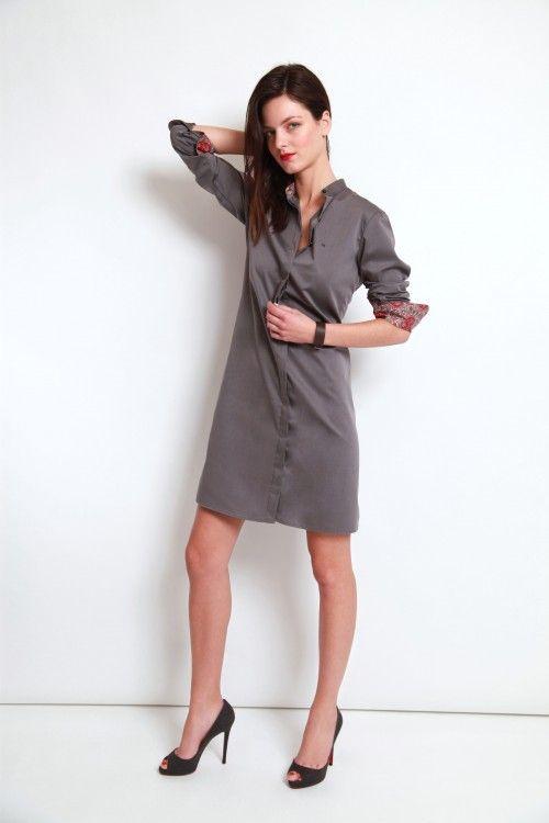 chemises sur mesure femme, Robe chemise, robe chemise sur mesure, robe chemise grise, intérieur col et poignets liberty, créatrice sur mesure, boutique robe paris, boutique robe chemise paris, boutique robe chemise grande taille, robe chemise grande taille