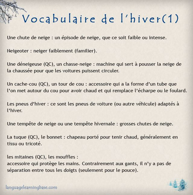 Vocabulaire de l'hiver - learn French,vocabulaire,francais