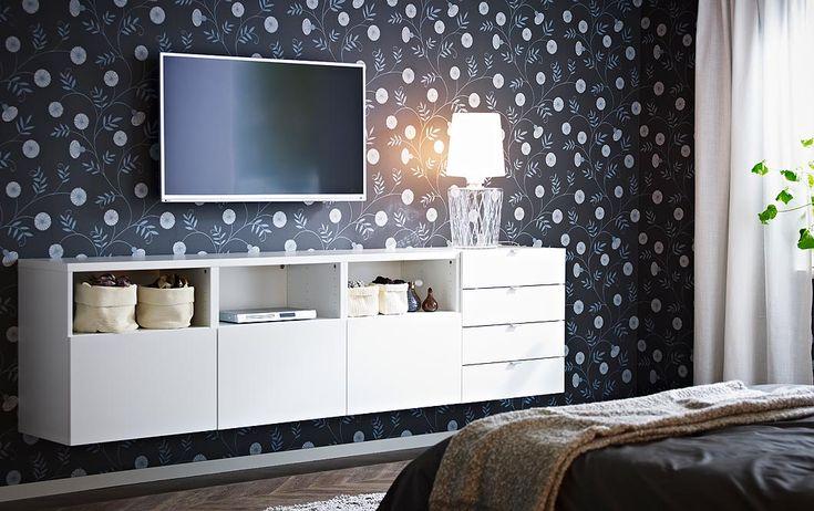 Combinação de arrumação e móvel de TV BESTÅ em branco com portas e gavetas