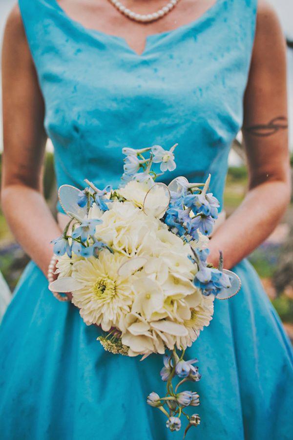 bouquet to match the bridesmaid's dress // photo by Briana Purser // http://ruffledblog.com/sixties-inspired-texas-wedding