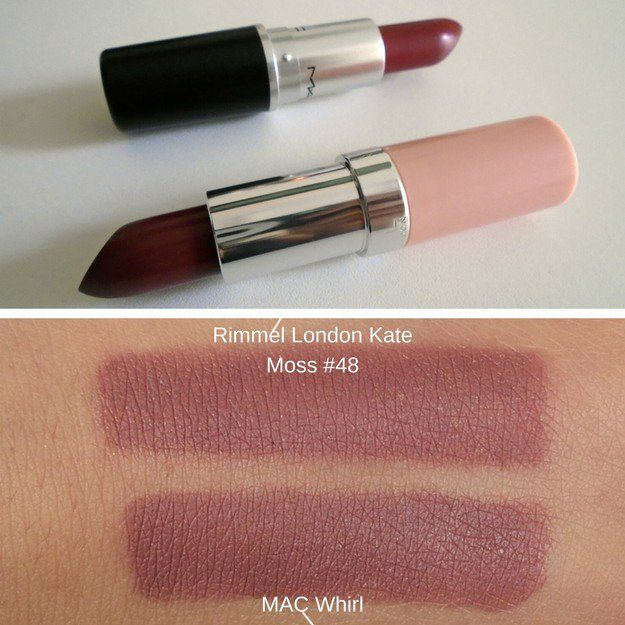 MAC Whirl ang Rimmel London Lasting Finish by Kate #48 | Mac Lipstick Dupes | The Ultimate Guide
