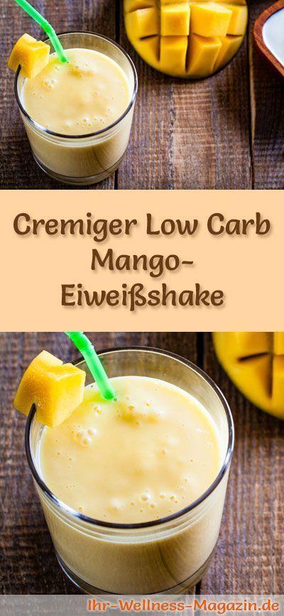 Mango-Eiweißshake selber machen - ein gesundes Low-Carb-Diät-Rezept für Frühstücks-Smoothies und Proteinshakes zum Abnehmen - ohne Zusatz von Zucker, kalorienarm, gesund ...