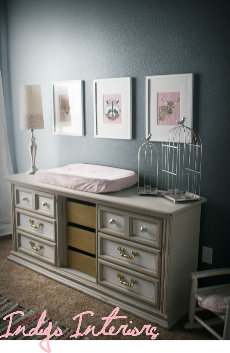 Choosing the paint colour for any direction room angela bunt - Girls Room Nursery With Blue Walls Painted In Academy Gray By Valspar Dresser