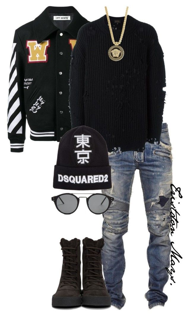 """Black Fashion Matters."" by monroestyles ❤ liked on Polyvore featuring Off-White, Balmain, adidas Originals, adidas, Versace, Dsquared2, Bottega Veneta, men's fashion, menswear and MensFashion"