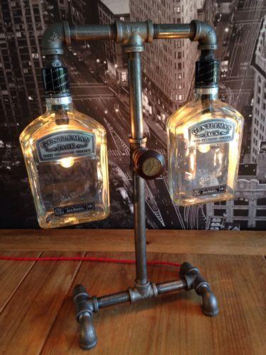 Steampunk Industrial Gentlemen Jack Daniels Pipe Lamp