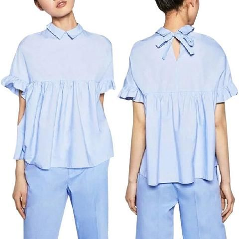 Women Casual Blouse Shirts Butterfly Sleeve Loose Pleated Blouses Back Bow Short Sleeve Tops