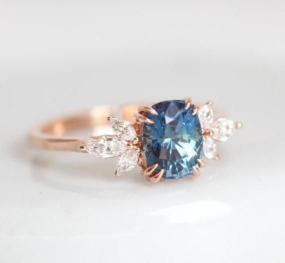 Blue Sapphire Engagement Ring Set Heart Shaped Sapphire Engagement