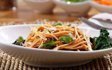 Spaghetti with kale, fava beans, sauce, & Romano Cheese.  A dish your entire family will like and that is filling and doesn't break the bank.