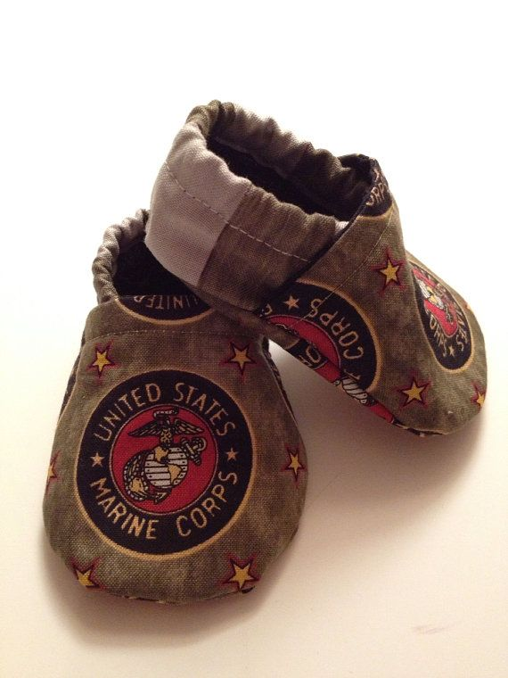 Military Marine Corp baby booties by saluna on Etsy, $15.00
