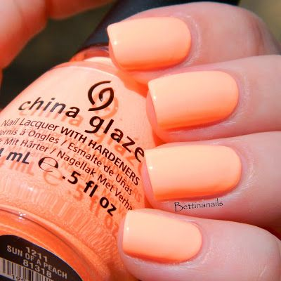 China Glaze: Son of a peach!  Second only to Flip Flop Fantasy. You might think you don't need this color because it is so close to FFF, but you are wrong. You need it.  The color is lighter than FFF, but still so bright it glows. It's a neon pastel peach. It's beautiful!
