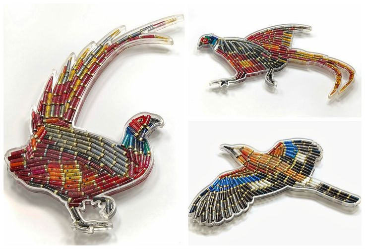 Birds Crafted out of Hundreds of Shotgun Cartridges #Art, #Birds, #Shotguns