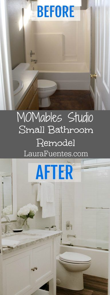 I've been very excited to share with you some of the remodels in the MOMables Studio. Here are the before and after details of the small bathroom.