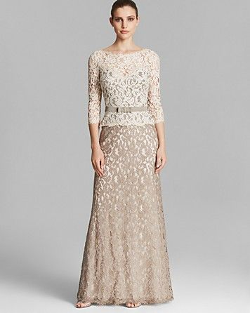 Tadashi Shoji Gown - Three Quarter Sleeve Lace Belted | Bloomingdale's