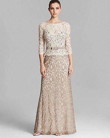 Tadashi Shoji Sequin Lace Gown - Sleeveless Blouson ...